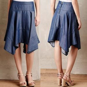 Anthropologie HD in Paris chambray 10 Blue skirt